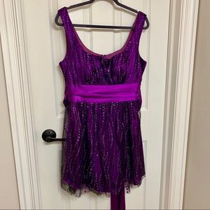 Purple formal dress black sheer overlay waist belt